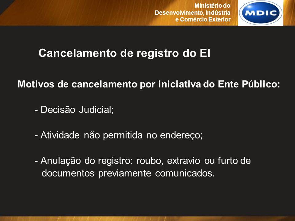 Motivos de cancelamento por iniciativa do Ente Público: - Decisão Judicial; - Atividade não permitida no endereço; - Anulação do registro: roubo, extr