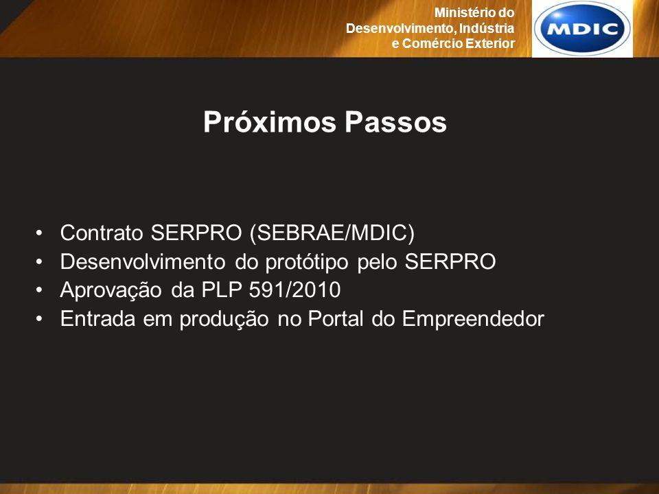 Próximos Passos Contrato SERPRO (SEBRAE/MDIC) Desenvolvimento do protótipo pelo SERPRO Aprovação da PLP 591/2010 Entrada em produção no Portal do Empr