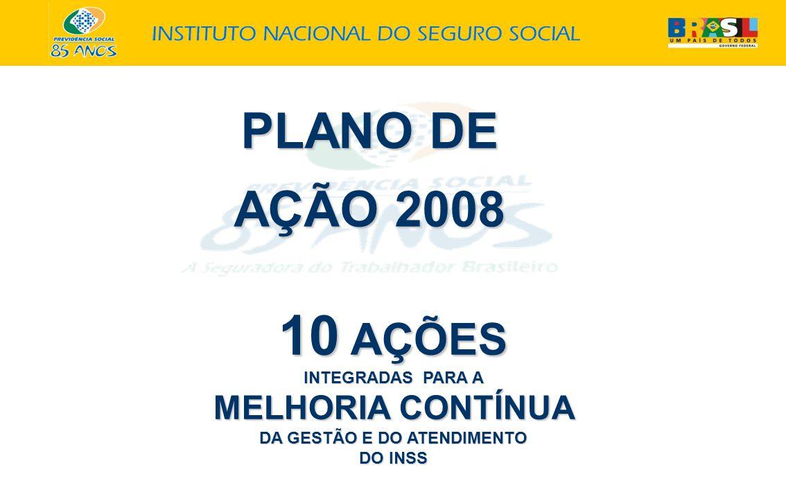 PLANO DE AÇÃO 2008 10 AÇÕES INTEGRADAS PARA A MELHORIA CONTÍNUA DA GESTÃO E DO ATENDIMENTO DO INSS