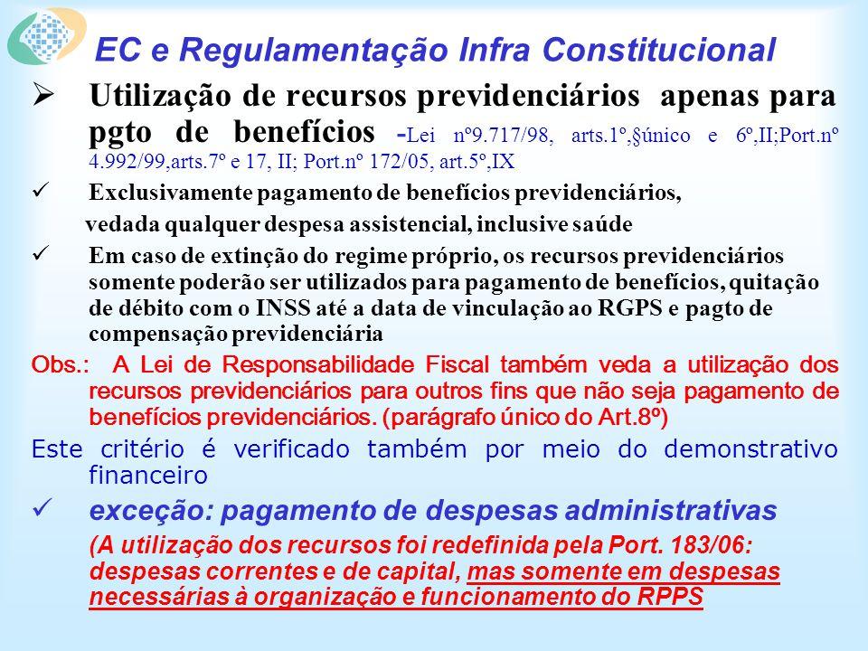 EC e Regulamentação Infra Constitucional Utilização de recursos previdenciários apenas para pgto de benefícios - Lei nº9.717/98, arts.1º,§único e 6º,I