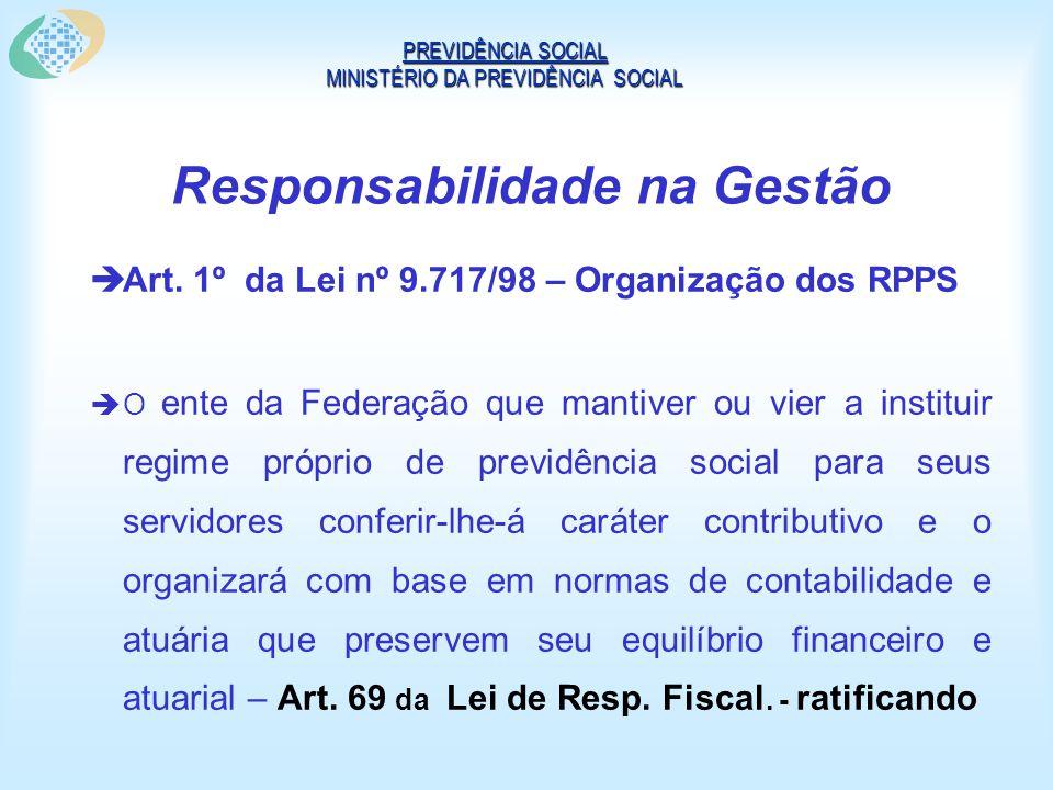Responsabilidade na Gestão Art. 1º da Lei nº 9.717/98 – Organização dos RPPS O ente da Federação que mantiver ou vier a instituir regime próprio de pr