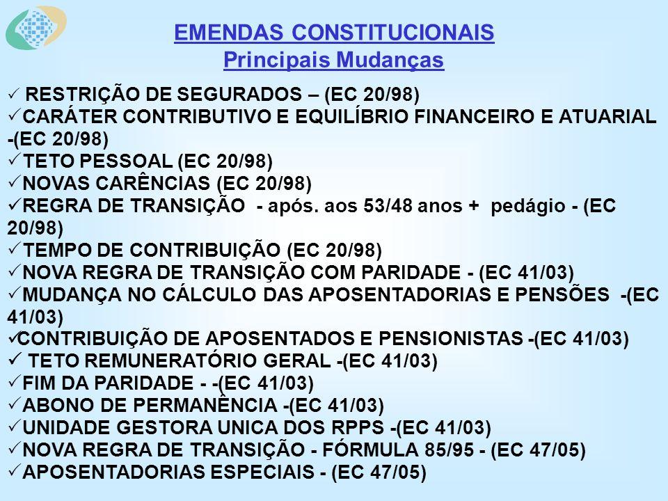 EMENDAS CONSTITUCIONAIS Principais Mudanças RESTRIÇÃO DE SEGURADOS – (EC 20/98) CARÁTER CONTRIBUTIVO E EQUILÍBRIO FINANCEIRO E ATUARIAL -(EC 20/98) TETO PESSOAL (EC 20/98) NOVAS CARÊNCIAS (EC 20/98) REGRA DE TRANSIÇÃO - após.