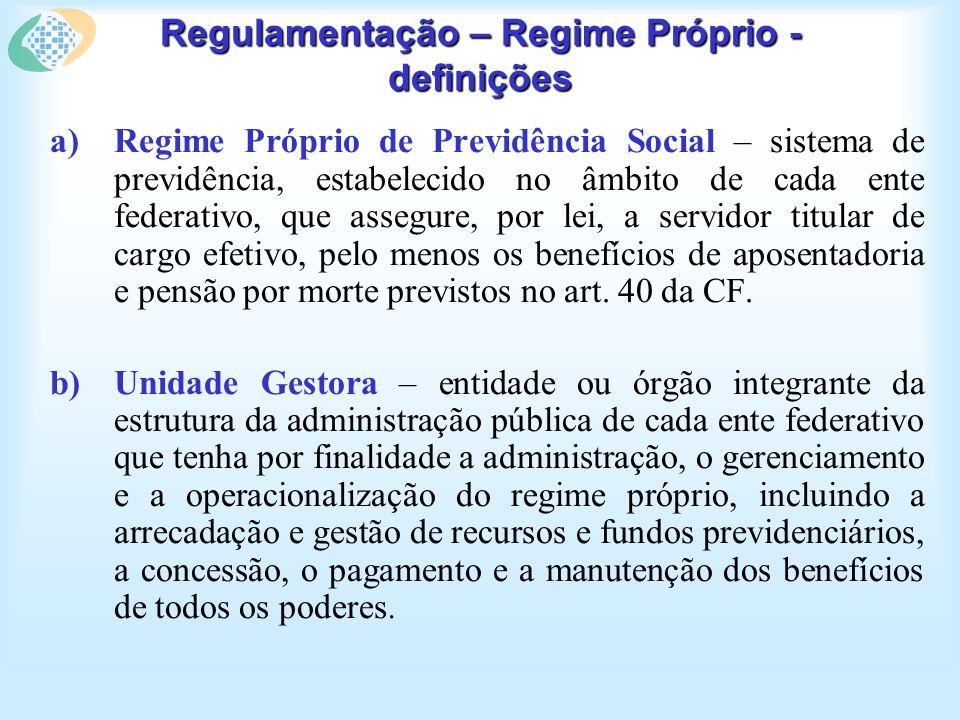 Regulamentação – Regime Próprio - definições a)Regime Próprio de Previdência Social – sistema de previdência, estabelecido no âmbito de cada ente fede