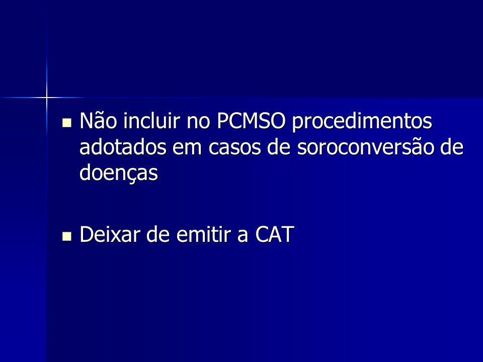 Não incluir no PCMSO procedimentos adotados em casos de soroconversão de doenças Não incluir no PCMSO procedimentos adotados em casos de soroconversão de doenças Deixar de emitir a CAT Deixar de emitir a CAT