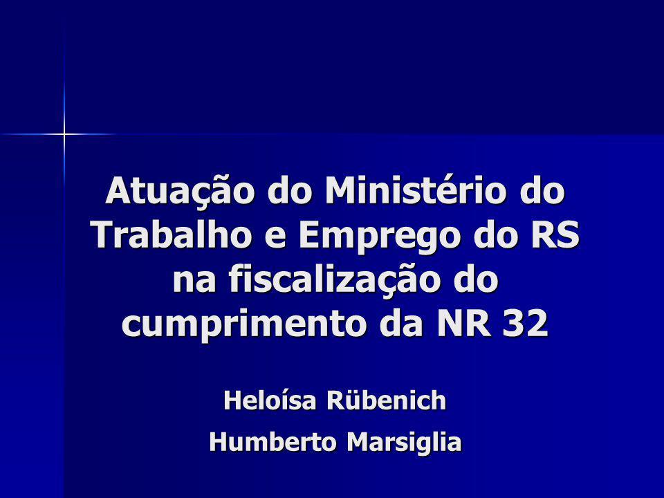 Atuação do Ministério do Trabalho e Emprego do RS na fiscalização do cumprimento da NR 32 Heloísa Rübenich Humberto Marsiglia