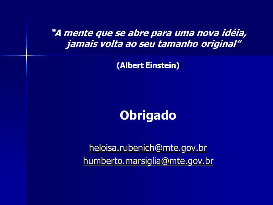 A mente que se abre para uma nova idéia, jamais volta ao seu tamanho original (Albert Einstein) Obrigado heloisa.rubenich@mte.gov.br humberto.marsiglia@mte.gov.br