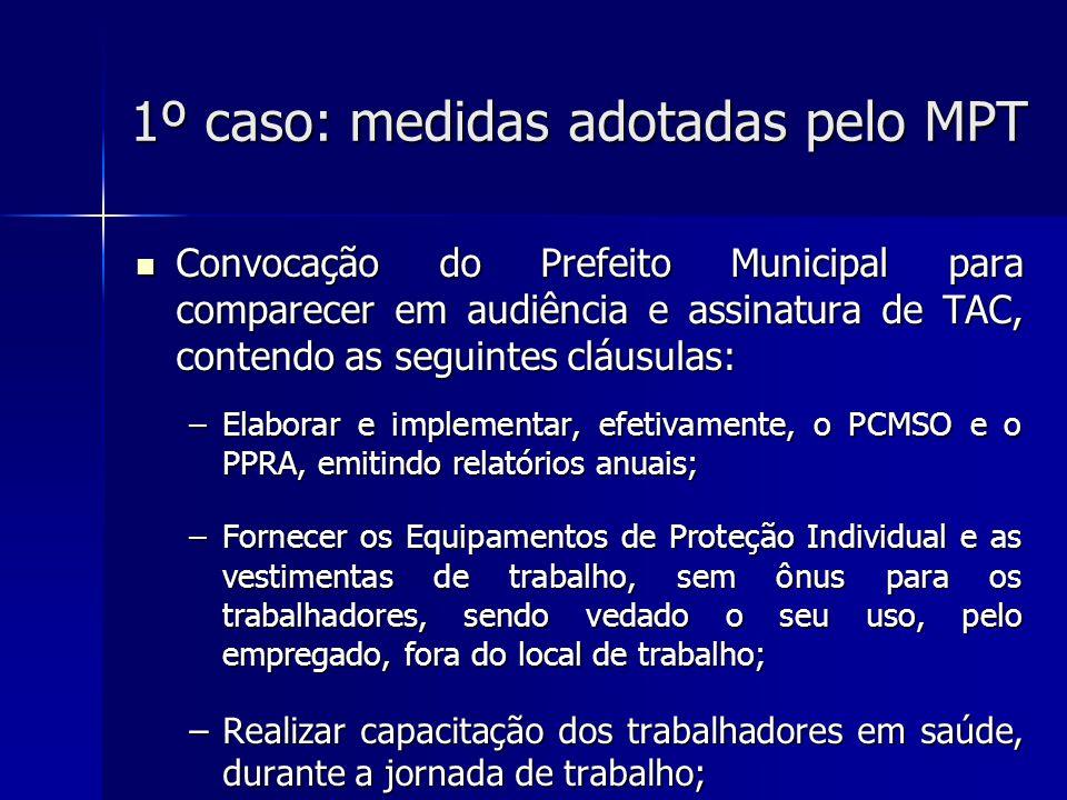 1º caso: medidas adotadas pelo MPT –Pagar o adicional de insalubridade, desde que o LTCAT e o PPRA indiquem a existência de insalubridade no local de trabalho; –Multa em caso de descumprimento de cada obrigação: R$ 20 mil por mês.