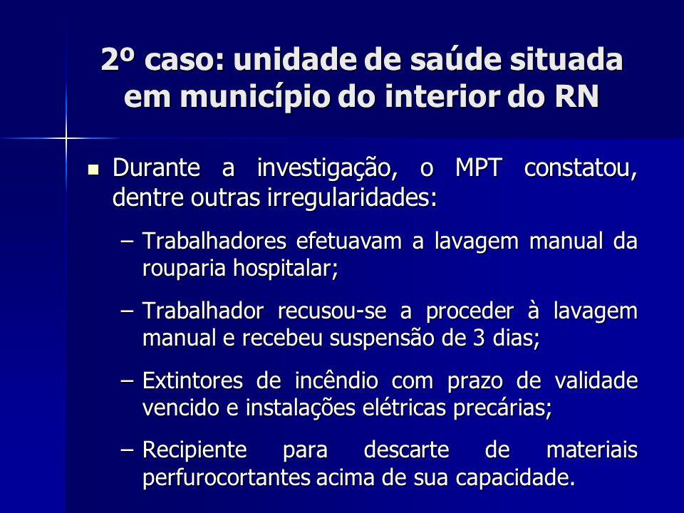 2º caso: unidade de saúde situada em município do interior do RN Falta de manutenção dos extintores de incêndio