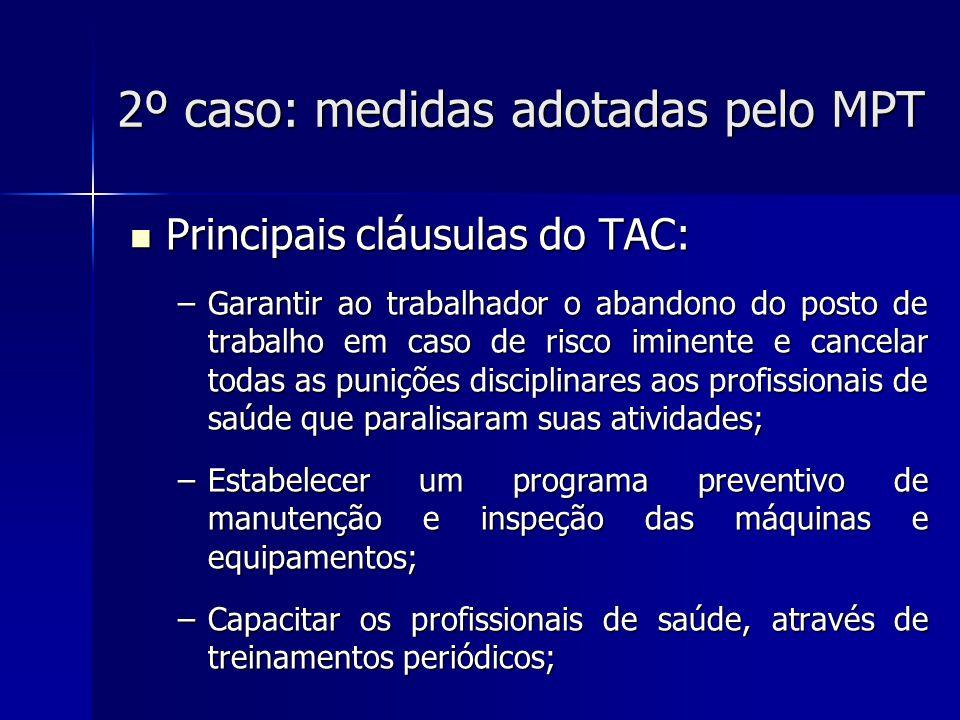 2º caso: medidas adotadas pelo MPT Principais cláusulas do TAC: Principais cláusulas do TAC: –Efetuar adequadamente o descarte de materiais perfurocortantes; –Providenciar imediatamente a manutenção dos extintores de incêndio; –Abster-se de obrigar os trabalhadores a proceder à lavagem manual da rouparia hospitalar, desativando imediatamente a lavanderia de alvenaria existente e o respectivo varal;