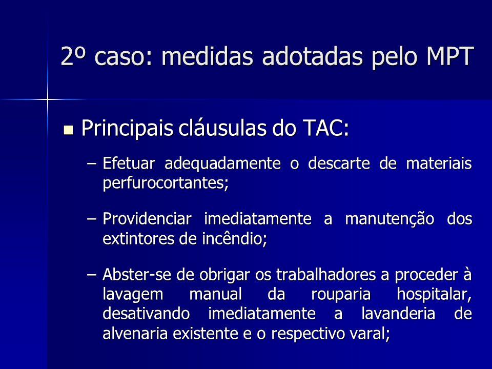 2º caso: medidas adotadas pelo MPT Principais cláusulas do TAC: Principais cláusulas do TAC: –Multa em caso de descumprimento das obrigações: até R$ 10 mil por cláusula descumprida; –Responsabilidade pessoal do gestor público que der causa ao descumprimento.