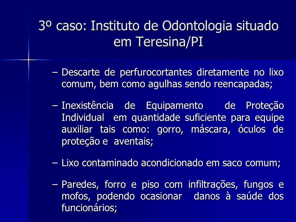 3º caso: Instituto de Odontologia situado em Teresina/PI Deterioração das paredes Contaminação do material odontológico