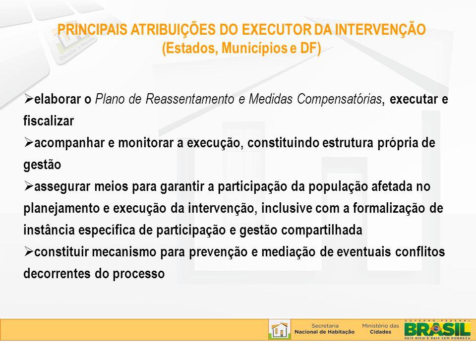 PRINCIPAIS ATRIBUIÇÕES DO EXECUTOR DA INTERVENÇÃO (Estados, Municípios e DF) elaborar o Plano de Reassentamento e Medidas Compensatórias, executar e f