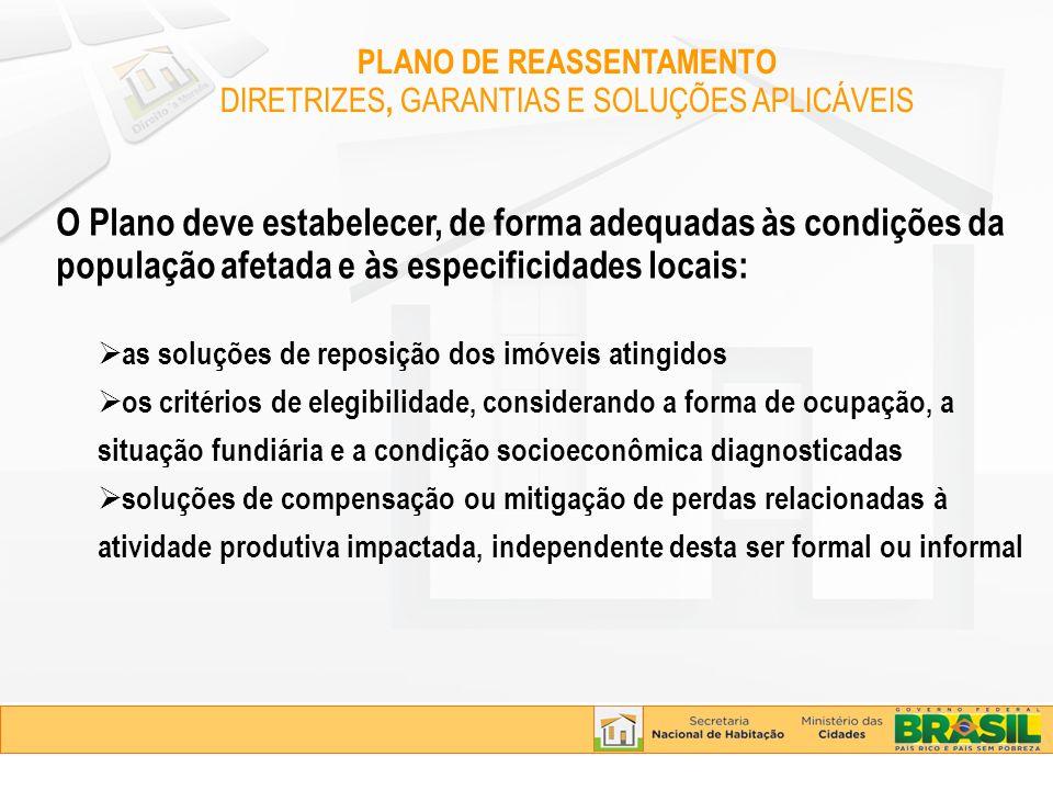 O Plano deve estabelecer, de forma adequadas às condições da população afetada e às especificidades locais: as soluções de reposição dos imóveis ating