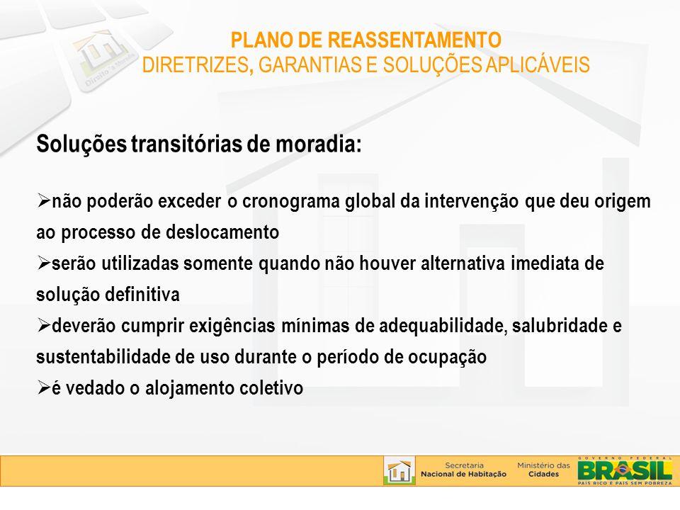 Soluções transitórias de moradia: não poderão exceder o cronograma global da intervenção que deu origem ao processo de deslocamento serão utilizadas s