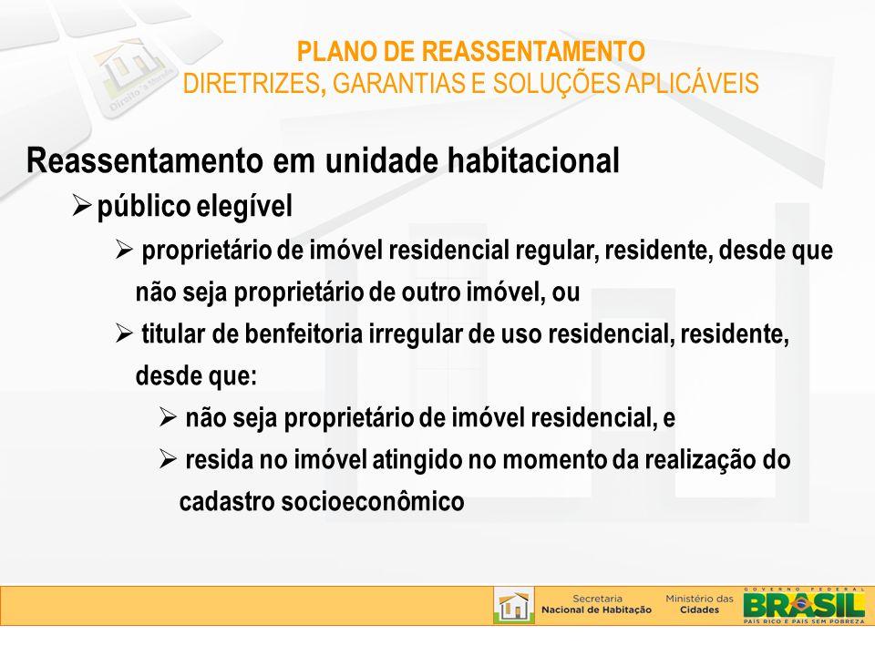 Reassentamento em unidade habitacional público elegível proprietário de imóvel residencial regular, residente, desde que não seja proprietário de outr