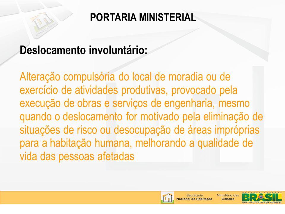 PORTARIA MINISTERIAL Deslocamento involuntário: Alteração compulsória do local de moradia ou de exercício de atividades produtivas, provocado pela exe