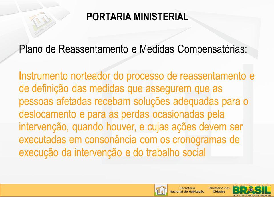 PORTARIA MINISTERIAL Plano de Reassentamento e Medidas Compensatórias: I nstrumento norteador do processo de reassentamento e de definição das medidas