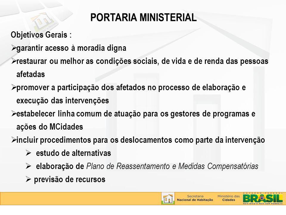PORTARIA MINISTERIAL Objetivos Gerais : garantir acesso à moradia digna restaurar ou melhor as condições sociais, de vida e de renda das pessoas afeta