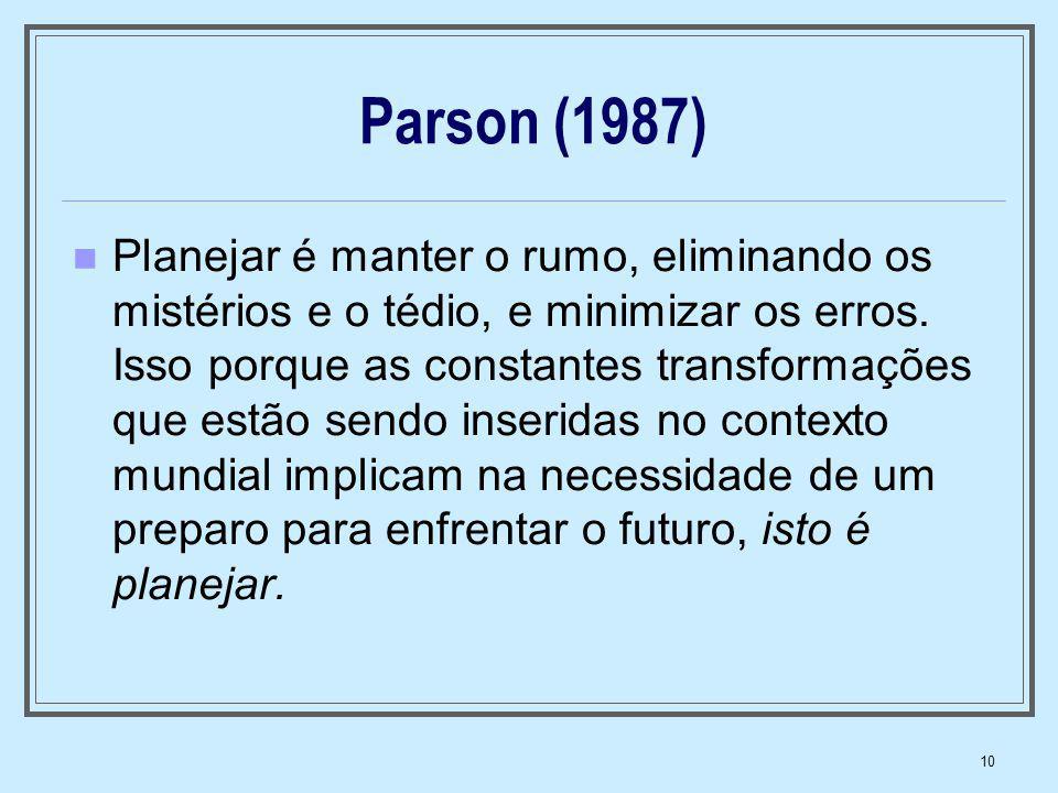 10 Parson (1987) Planejar é manter o rumo, eliminando os mistérios e o tédio, e minimizar os erros. Isso porque as constantes transformações que estão