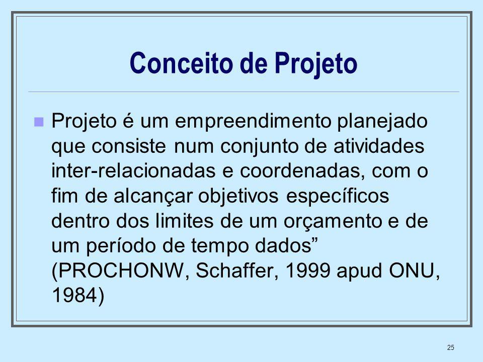 25 Conceito de Projeto Projeto é um empreendimento planejado que consiste num conjunto de atividades inter-relacionadas e coordenadas, com o fim de al