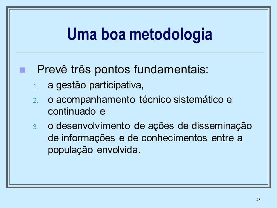 48 Uma boa metodologia Prevê três pontos fundamentais: 1. a gestão participativa, 2. o acompanhamento técnico sistemático e continuado e 3. o desenvol