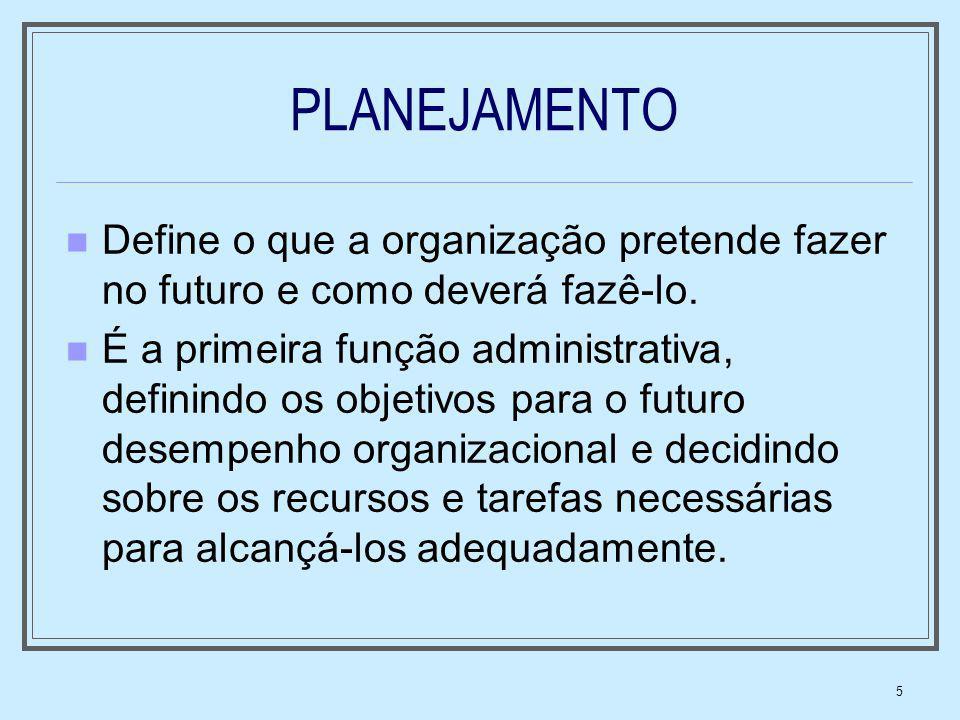 5 PLANEJAMENTO Define o que a organização pretende fazer no futuro e como deverá fazê-lo. É a primeira função administrativa, definindo os objetivos p