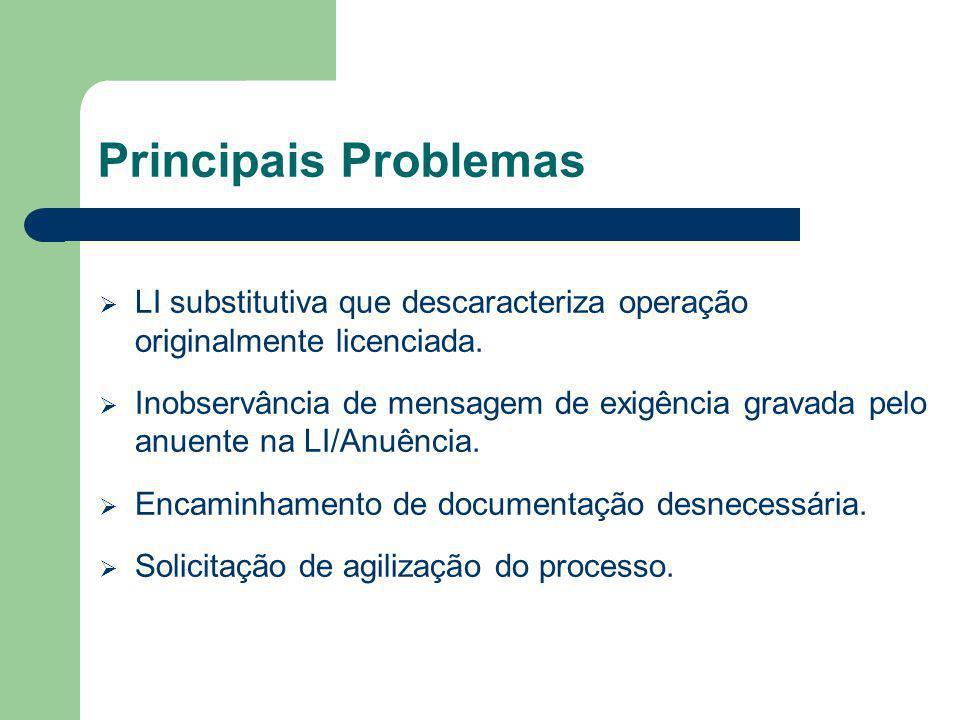 Principais Problemas LI substitutiva que descaracteriza operação originalmente licenciada. Inobservância de mensagem de exigência gravada pelo anuente