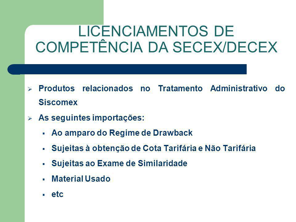 Produtos relacionados no Tratamento Administrativo do Siscomex As seguintes importações: Ao amparo do Regime de Drawback Sujeitas à obtenção de Cota T