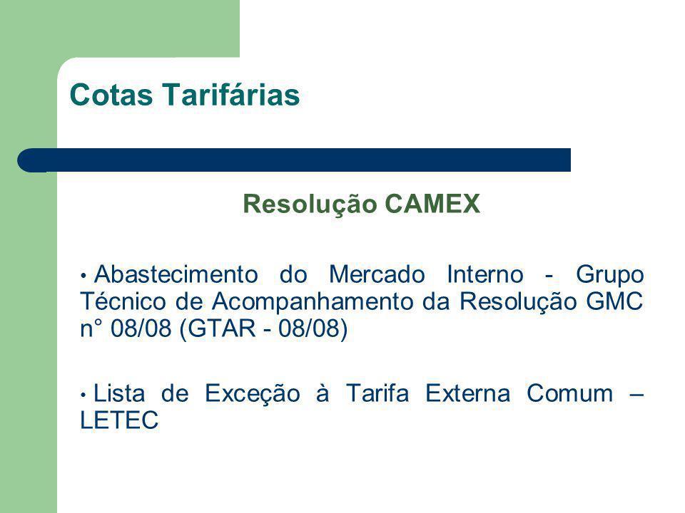 Cotas Tarifárias Resolução CAMEX Abastecimento do Mercado Interno - Grupo Técnico de Acompanhamento da Resolução GMC n° 08/08 (GTAR - 08/08) Lista de
