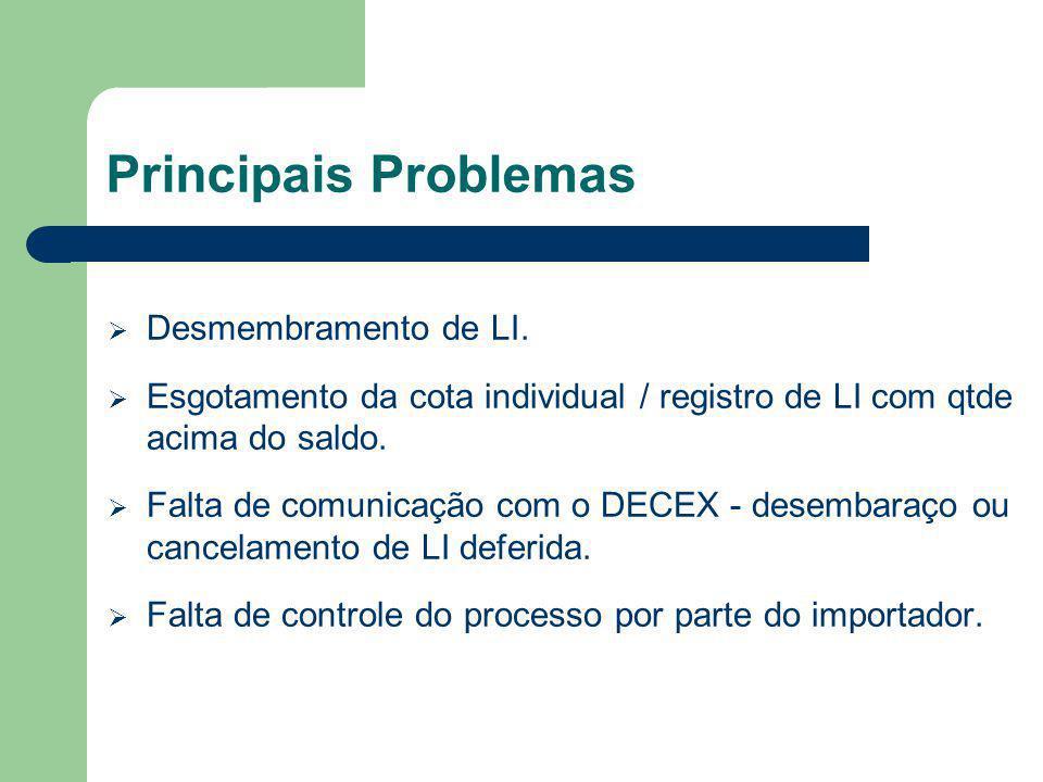 Principais Problemas Desmembramento de LI. Esgotamento da cota individual / registro de LI com qtde acima do saldo. Falta de comunicação com o DECEX -