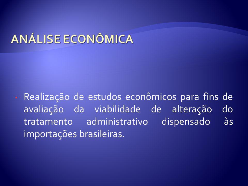 Realização de estudos econômicos para fins de avaliação da viabilidade de alteração do tratamento administrativo dispensado às importações brasileiras