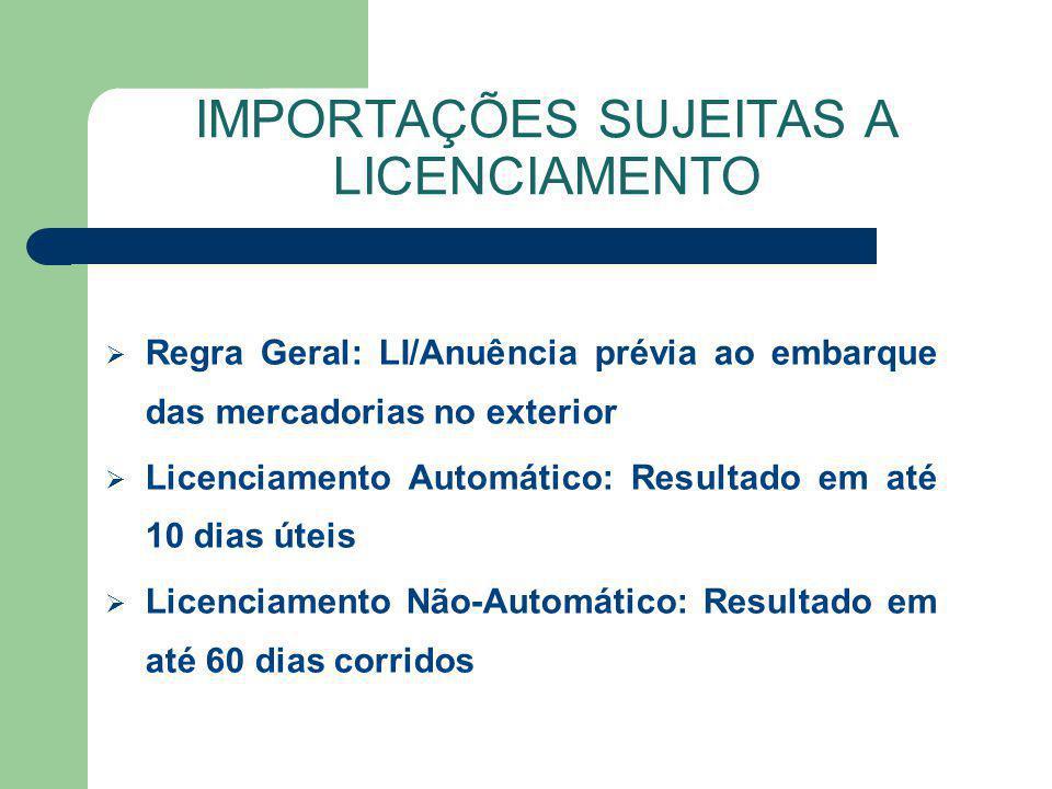 Regra Geral: LI/Anuência prévia ao embarque das mercadorias no exterior Licenciamento Automático: Resultado em até 10 dias úteis Licenciamento Não-Aut