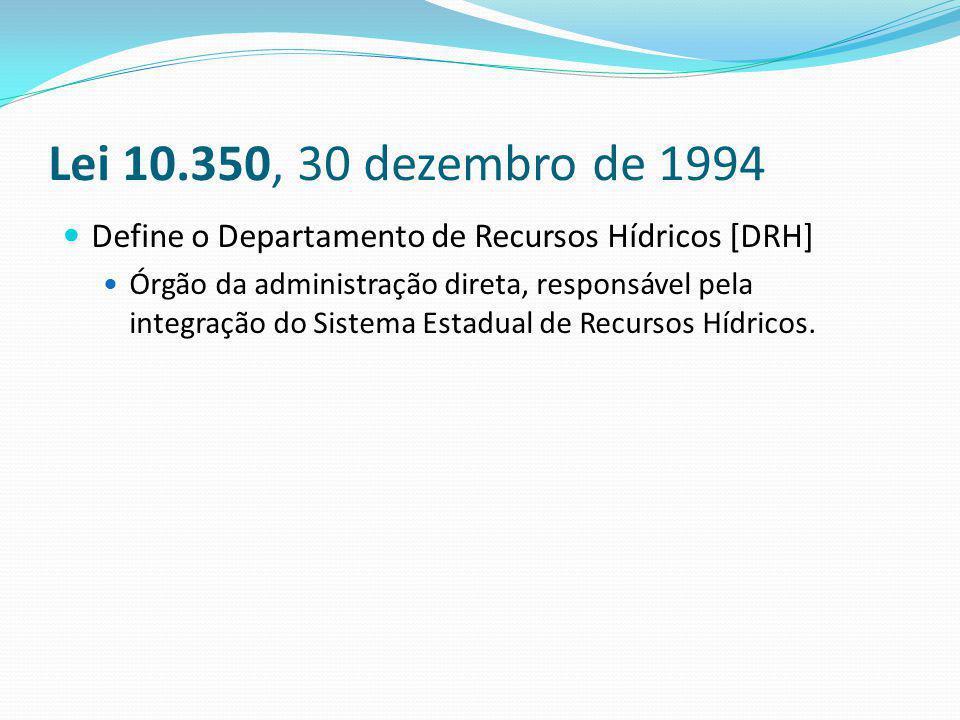 Lei 10.350, 30 dezembro de 1994 Define o Departamento de Recursos Hídricos [DRH] Órgão da administração direta, responsável pela integração do Sistema