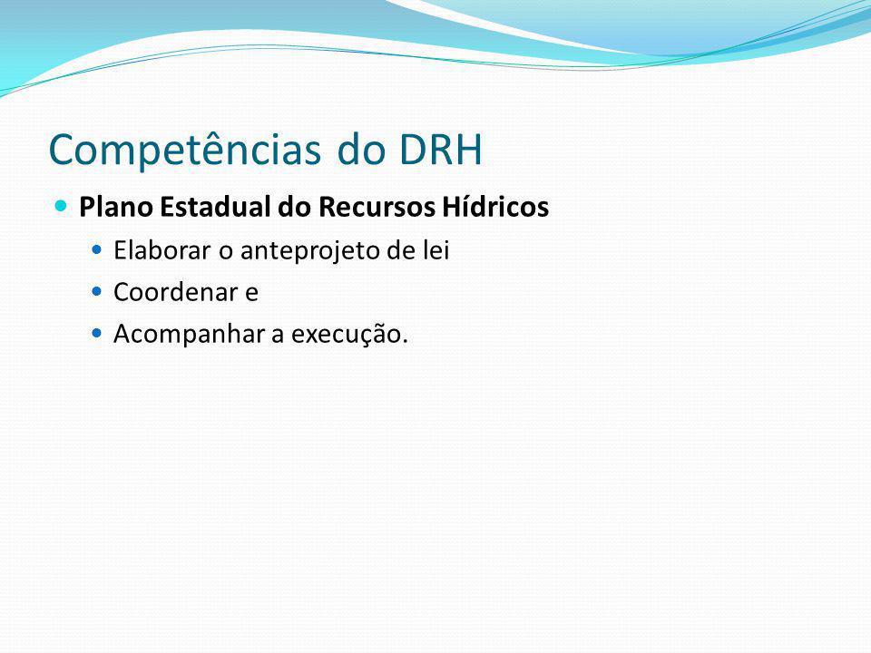 Competências do DRH Plano Estadual do Recursos Hídricos Elaborar o anteprojeto de lei Coordenar e Acompanhar a execução.