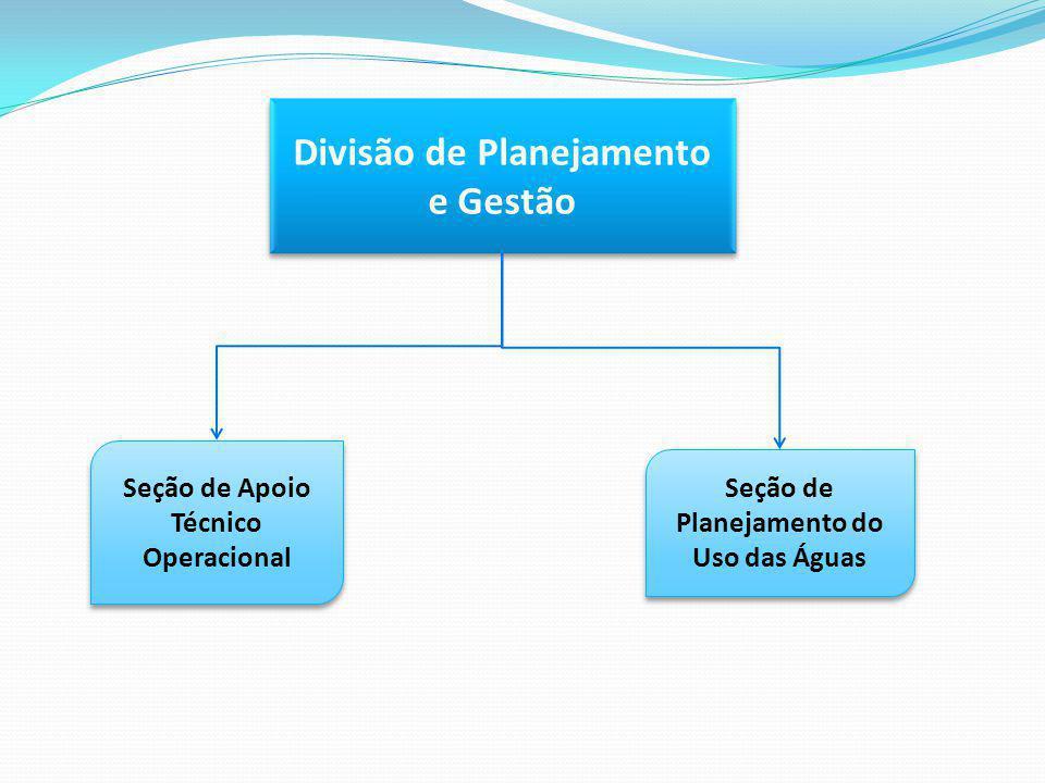 Divisão de Planejamento e Gestão Seção de Apoio Técnico Operacional Seção de Planejamento do Uso das Águas