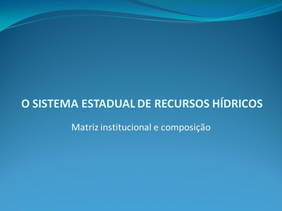O SISTEMA ESTADUAL DE RECURSOS HÍDRICOS Matriz institucional e composição