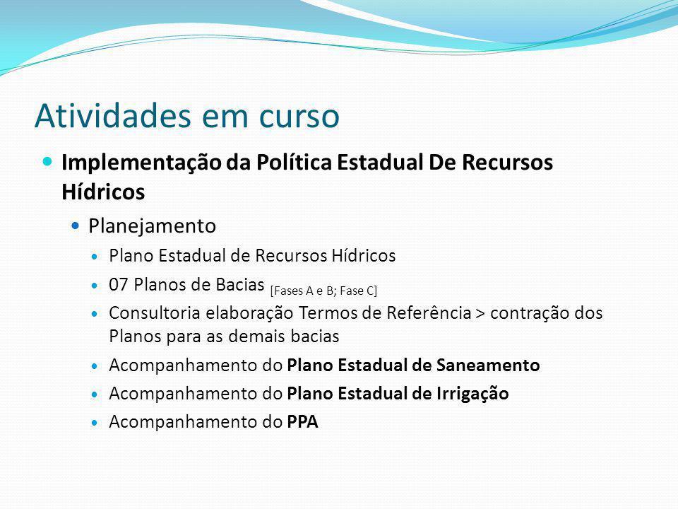 Atividades em curso Implementação da Política Estadual De Recursos Hídricos Planejamento Plano Estadual de Recursos Hídricos 07 Planos de Bacias [Fase