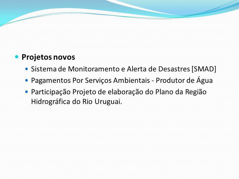 Projetos novos Sistema de Monitoramento e Alerta de Desastres [SMAD] Pagamentos Por Serviços Ambientais - Produtor de Água Participação Projeto de ela