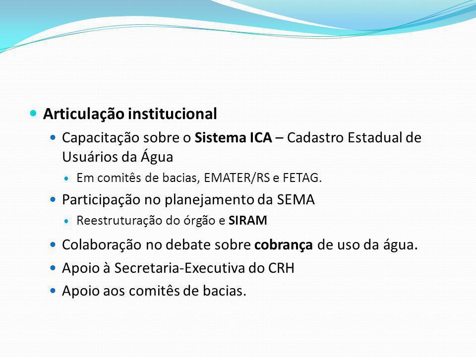 Articulação institucional Capacitação sobre o Sistema ICA – Cadastro Estadual de Usuários da Água Em comitês de bacias, EMATER/RS e FETAG. Participaçã