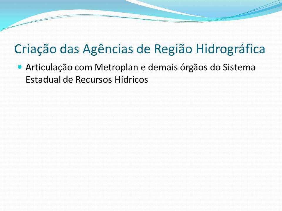 Criação das Agências de Região Hidrográfica Articulação com Metroplan e demais órgãos do Sistema Estadual de Recursos Hídricos