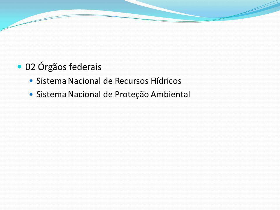 02 Órgãos federais Sistema Nacional de Recursos Hídricos Sistema Nacional de Proteção Ambiental