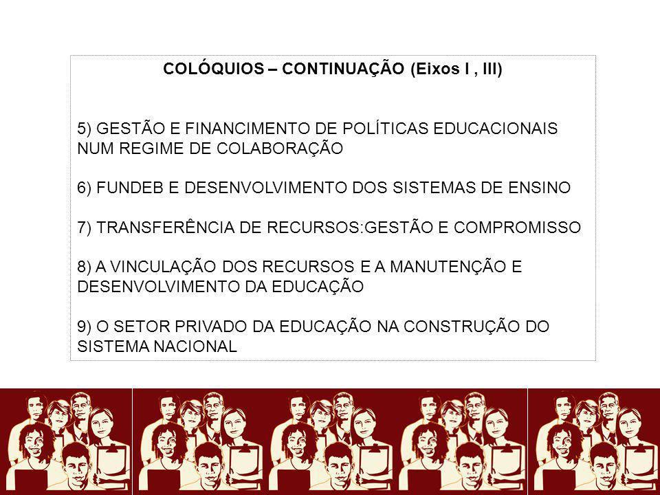 COLÓQUIOS – CONTINUAÇÃO (Eixos I, III) 5) GESTÃO E FINANCIMENTO DE POLÍTICAS EDUCACIONAIS NUM REGIME DE COLABORAÇÃO 6) FUNDEB E DESENVOLVIMENTO DOS SI