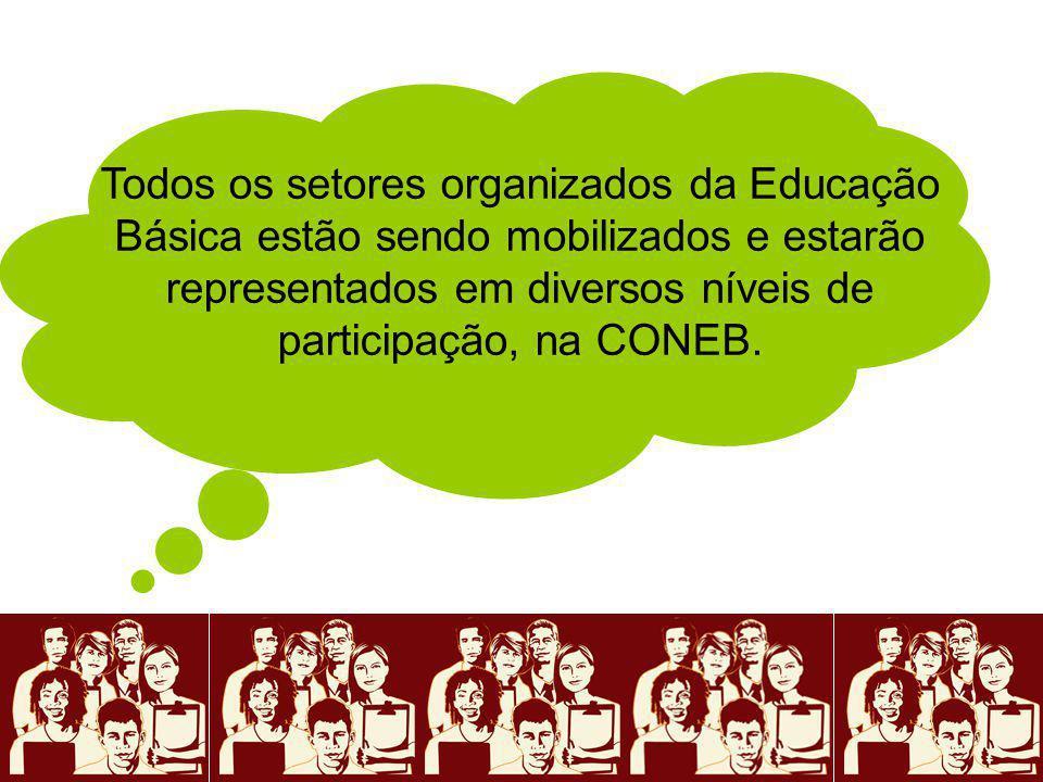 Todos os setores organizados da Educação Básica estão sendo mobilizados e estarão representados em diversos níveis de participação, na CONEB.