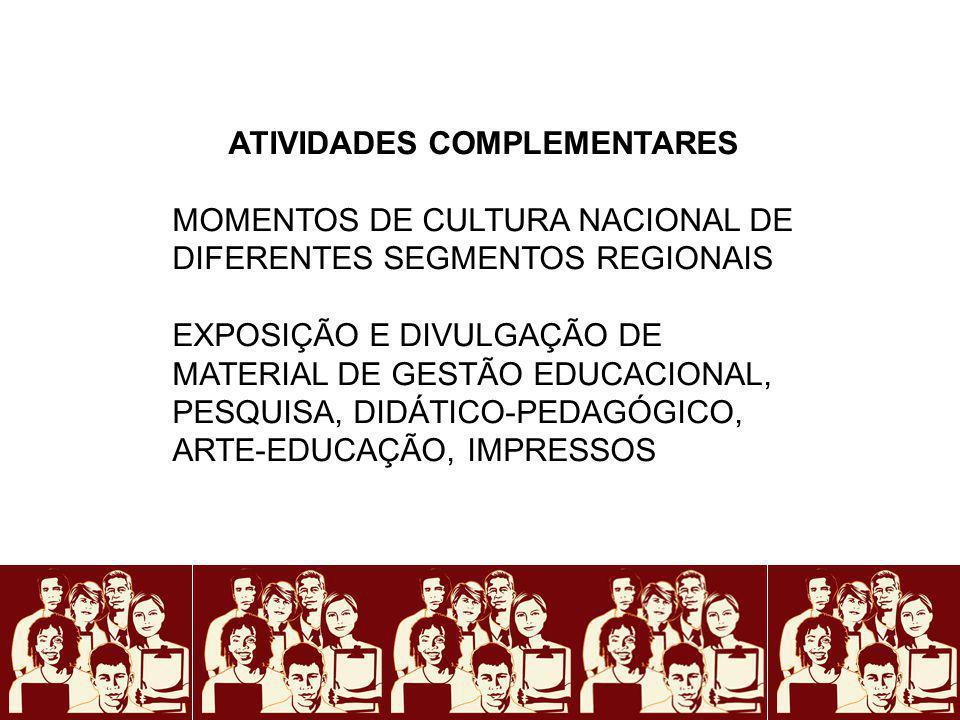 ATIVIDADES COMPLEMENTARES MOMENTOS DE CULTURA NACIONAL DE DIFERENTES SEGMENTOS REGIONAIS EXPOSIÇÃO E DIVULGAÇÃO DE MATERIAL DE GESTÃO EDUCACIONAL, PES