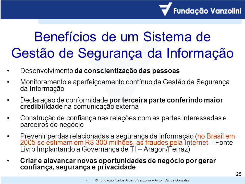 © Fundação Carlos Alberto Vanzolini – Airton Carlos Gonzalez 24 Benefícios de um Sistema de Gestão de Segurança da Informação através do item 4.2.1 Fo