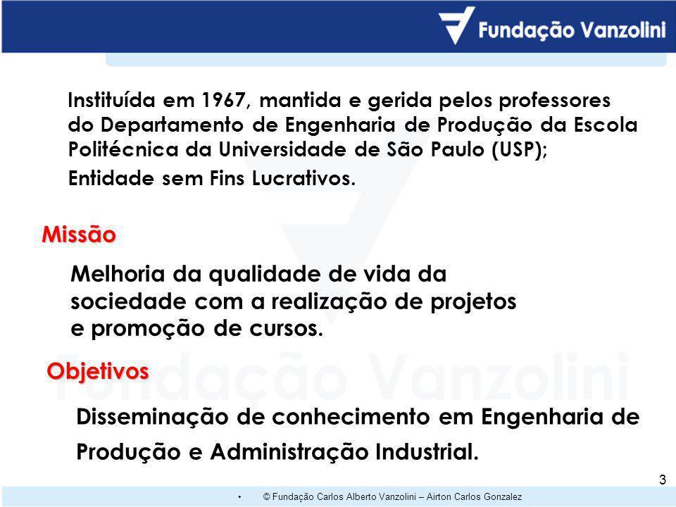 © Fundação Carlos Alberto Vanzolini – Airton Carlos Gonzalez 3 Instituída em 1967, mantida e gerida pelos professores do Departamento de Engenharia de Produção da Escola Politécnica da Universidade de São Paulo (USP); Entidade sem Fins Lucrativos.