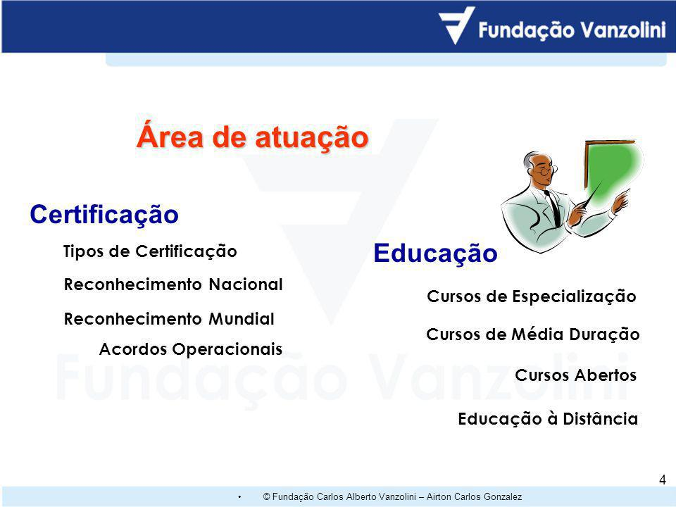 © Fundação Carlos Alberto Vanzolini – Airton Carlos Gonzalez 14 Aceitação Mundial da ISO/IEC 27001 No mundo (Junho de 2008): 4629 organizações certificadas ( 2653 emitidos no Japão) No Brasil para a ISO/IEC 27001 –Atos Origin –Fucapi –Modulo –Prodesp –Tivit www.xisec.com www.iso27001certificates.com/ Crescimento da Certificação BS 7799, antes da ISO/IEC 27001:05