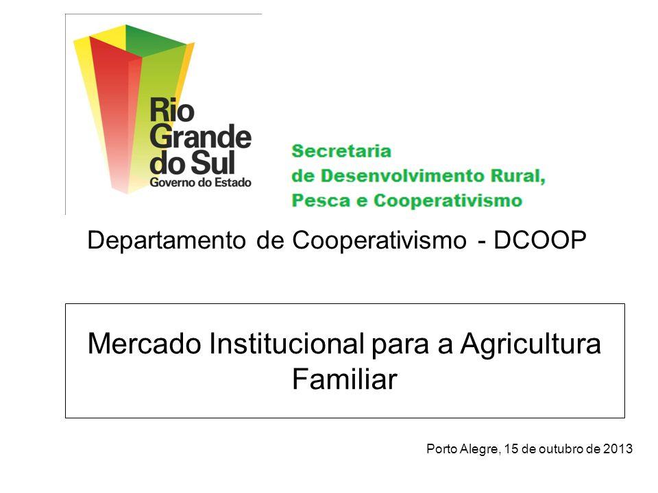 Mercado Institucional para a Agricultura Familiar Porto Alegre, 15 de outubro de 2013 Departamento de Cooperativismo - DCOOP