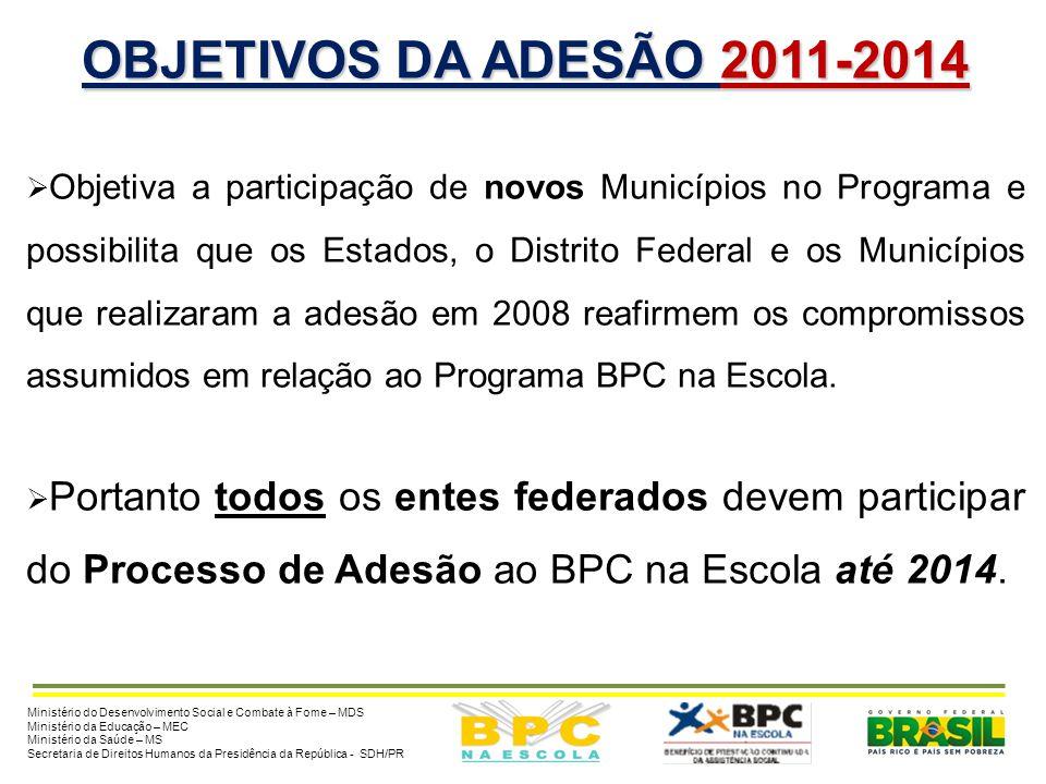 OBJETIVOS DA ADESÃO 2011-2014 Objetiva a participação de novos Municípios no Programa e possibilita que os Estados, o Distrito Federal e os Municípios que realizaram a adesão em 2008 reafirmem os compromissos assumidos em relação ao Programa BPC na Escola.