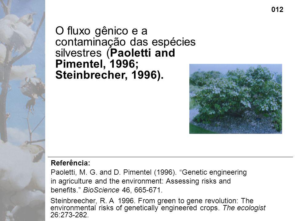 O fluxo gênico e a contaminação das espécies silvestres (Paoletti and Pimentel, 1996; Steinbrecher, 1996).